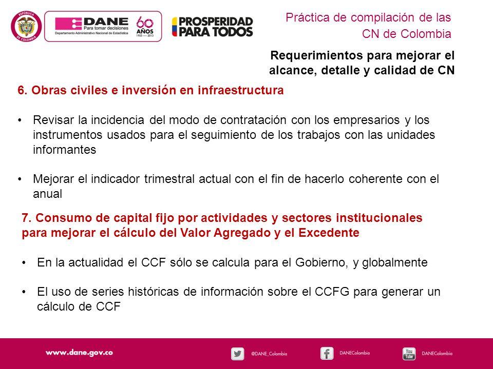Práctica de compilación de las CN de Colombia Requerimientos para mejorar el alcance, detalle y calidad de CN 6. Obras civiles e inversión en infraest