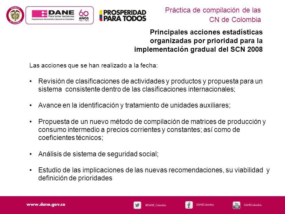 Práctica de compilación de las CN de Colombia Principales acciones estadísticas organizadas por prioridad para la implementación gradual del SCN 2008