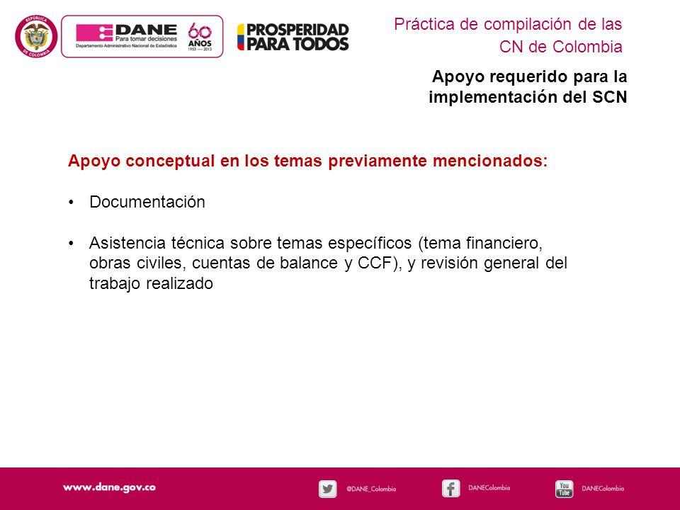 Práctica de compilación de las CN de Colombia Apoyo requerido para la implementación del SCN Apoyo conceptual en los temas previamente mencionados: Do