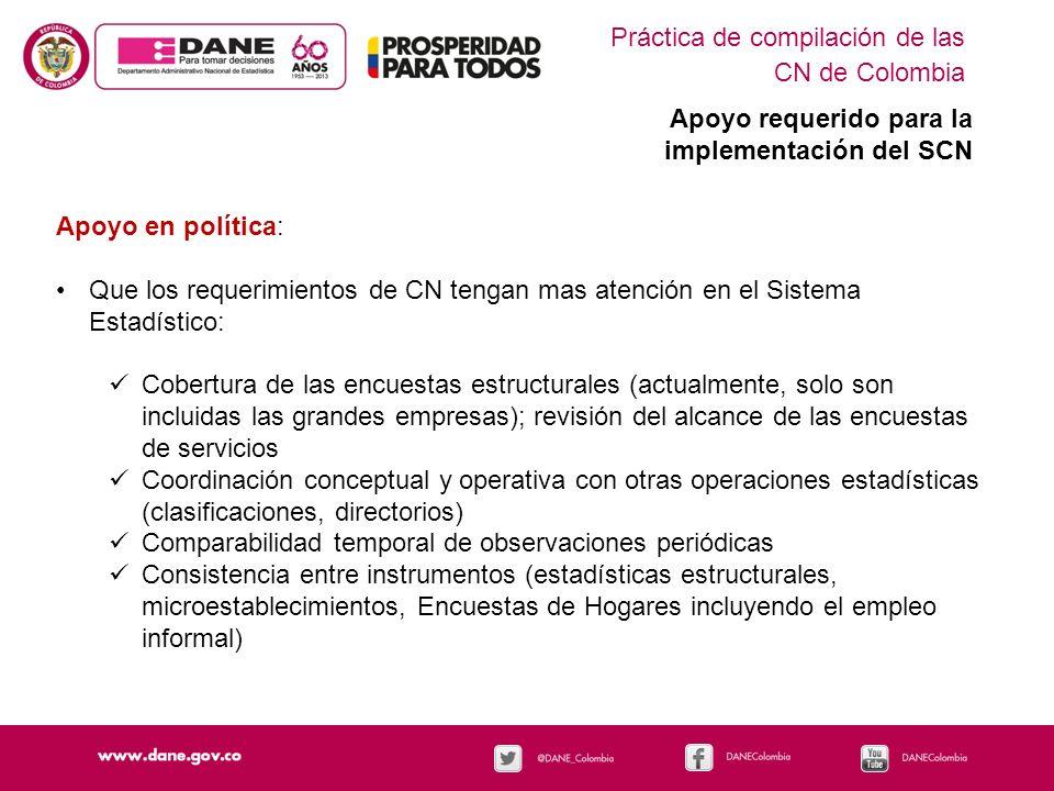 Práctica de compilación de las CN de Colombia Apoyo requerido para la implementación del SCN Apoyo en política: Que los requerimientos de CN tengan ma