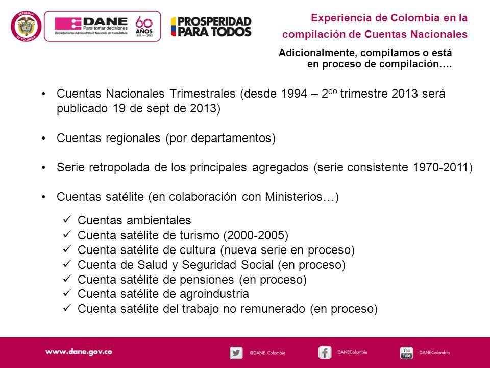 Experiencia de Colombia en la compilación de Cuentas Nacionales Adicionalmente, compilamos o está en proceso de compilación…. Cuentas Nacionales Trime