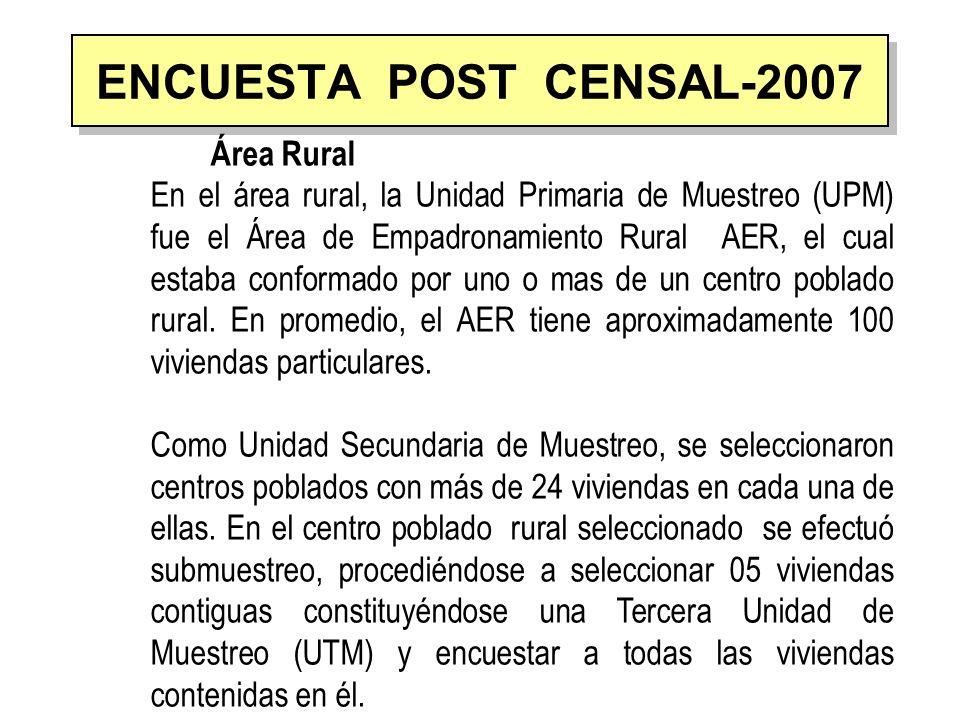 ENCUESTA POST CENSAL-2007 Área Rural En el área rural, la Unidad Primaria de Muestreo (UPM) fue el Área de Empadronamiento Rural AER, el cual estaba c