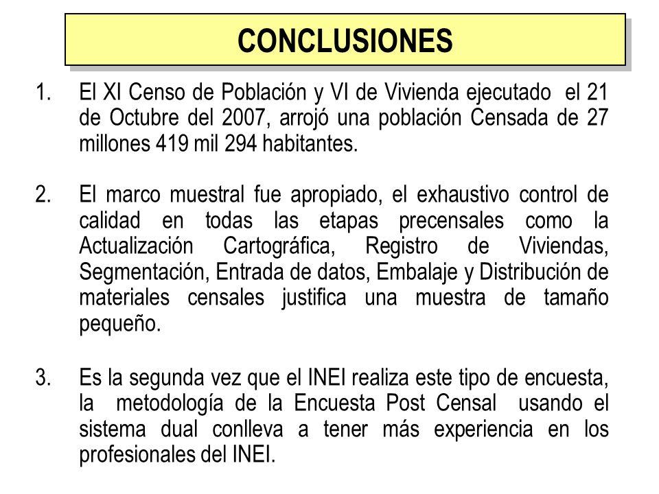 CONCLUSIONES 1.El XI Censo de Población y VI de Vivienda ejecutado el 21 de Octubre del 2007, arrojó una población Censada de 27 millones 419 mil 294