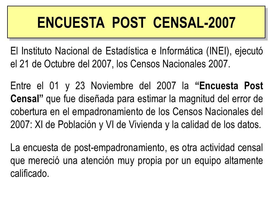 ENCUESTA POST CENSAL El Instituto Nacional de Estadística e Informática (INEI), ejecutó el 21 de Octubre del 2007, los Censos Nacionales 2007. Entre e