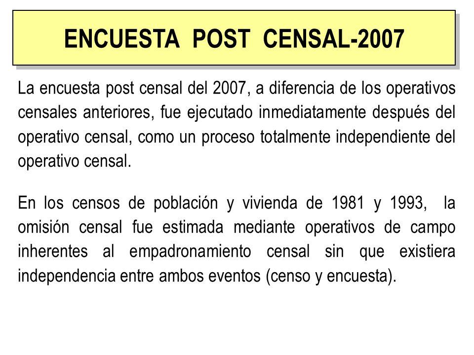 La evaluación de la cobertura y calidad del censo mediante una encuesta independiente por muestreo (Encuesta Post Censal - EPC) se basa en el Sistema Dual de Estimación (DSE: Dual Sistem Estimation).