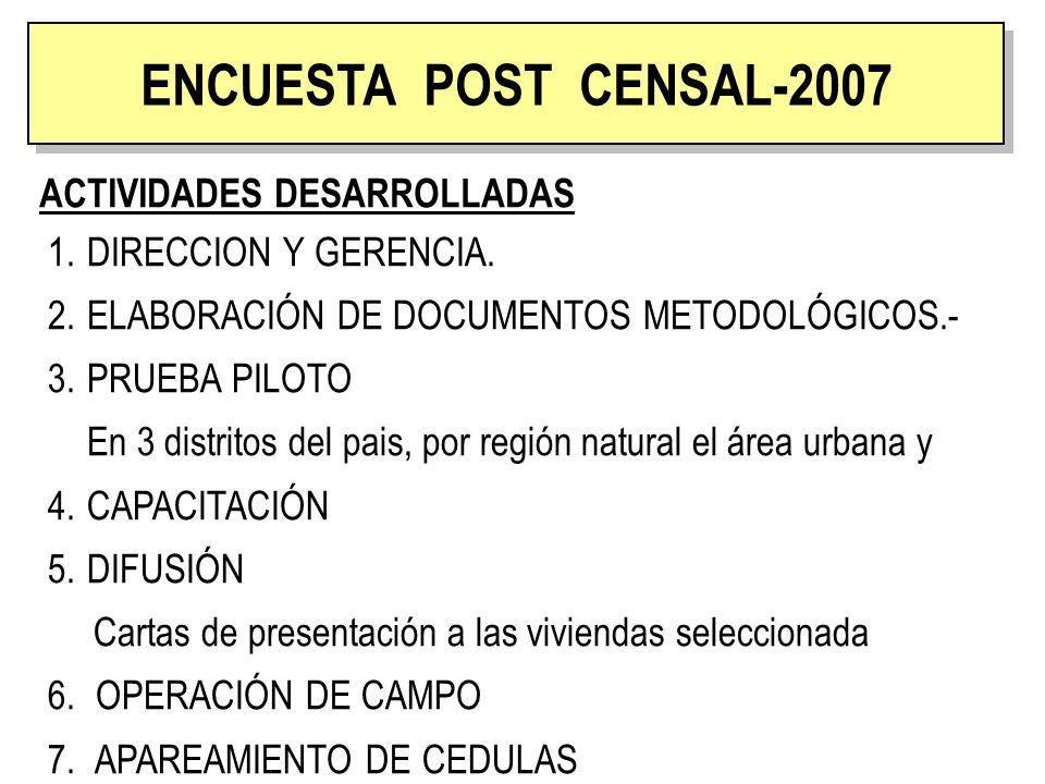 ENCUESTA POST CENSAL ACTIVIDADES DESARROLLADAS ENCUESTA POST CENSAL-2007 1.DIRECCION Y GERENCIA. 2.ELABORACIÓN DE DOCUMENTOS METODOLÓGICOS.- 3.PRUEBA