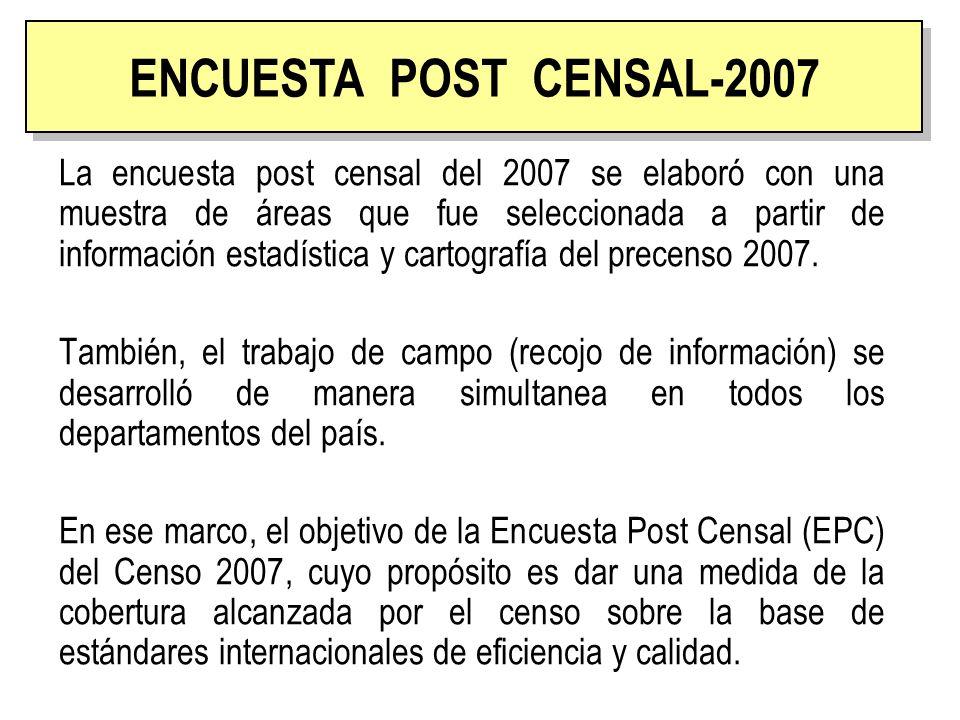 ENCUESTA POST CENSAL La encuesta post censal del 2007 se elaboró con una muestra de áreas que fue seleccionada a partir de información estadística y c