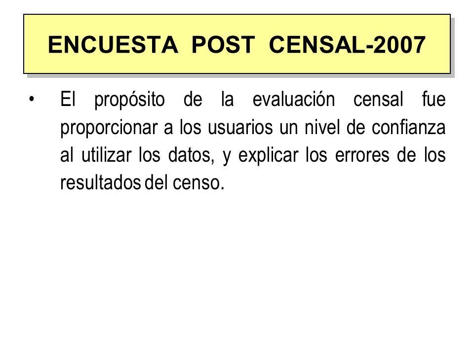 AÑO CENSAL ENCUESTA POST CENSAL % CONCILIACIÓN DEMOGRÁFICA % 19814,14,25 19932,354,44 200513,45,96 2007 2,843,76 ESTIMACION DE LA OMISION CENSAL 1981-2007