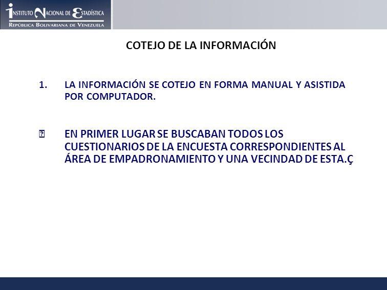 COTEJO DE LA INFORMACIÓN 1.LA INFORMACIÓN SE COTEJO EN FORMA MANUAL Y ASISTIDA POR COMPUTADOR.