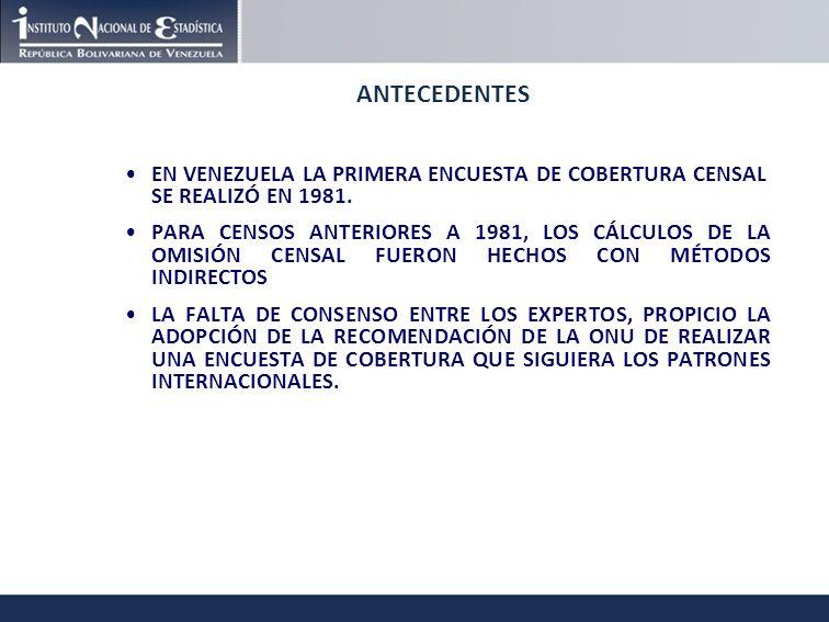 ANTECEDENTES EN VENEZUELA LA PRIMERA ENCUESTA DE COBERTURA CENSAL SE REALIZÓ EN 1981.