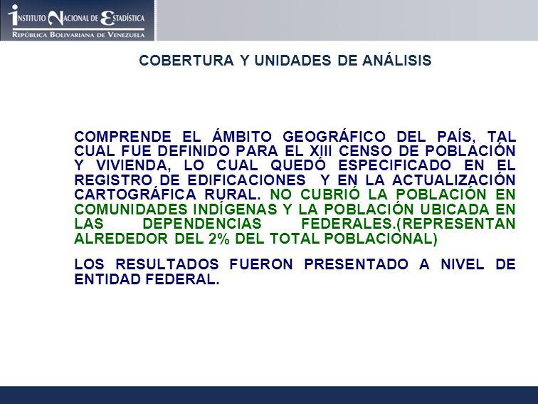 COBERTURA Y UNIDADES DE ANÁLISIS COMPRENDE EL ÁMBITO GEOGRÁFICO DEL PAÍS, TAL CUAL FUE DEFINIDO PARA EL XIII CENSO DE POBLACIÓN Y VIVIENDA, LO CUAL QUEDÓ ESPECIFICADO EN EL REGISTRO DE EDIFICACIONES Y EN LA ACTUALIZACIÓN CARTOGRÁFICA RURAL.