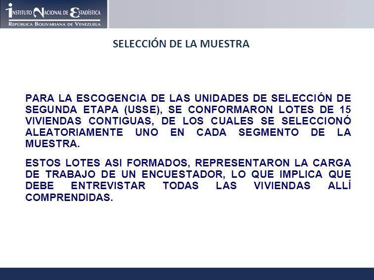 SELECCIÓN DE LA MUESTRA PARA LA ESCOGENCIA DE LAS UNIDADES DE SELECCIÓN DE SEGUNDA ETAPA (USSE), SE CONFORMARON LOTES DE 15 VIVIENDAS CONTIGUAS, DE LOS CUALES SE SELECCIONÓ ALEATORIAMENTE UNO EN CADA SEGMENTO DE LA MUESTRA.