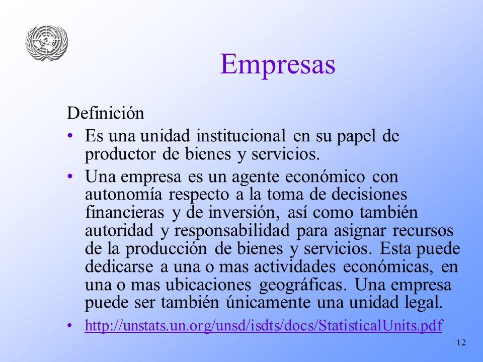 12 Empresas Definición Es una unidad institucional en su papel de productor de bienes y servicios. Una empresa es un agente económico con autonomía re