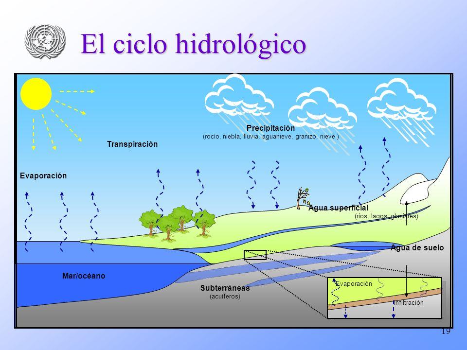 19 El ciclo hidrológico Evaporación Transpiración Precipitación (rocío, niebla, lluvia, aguanieve, granizo, nieve ) Subterráneas (acuíferos) Agua supe