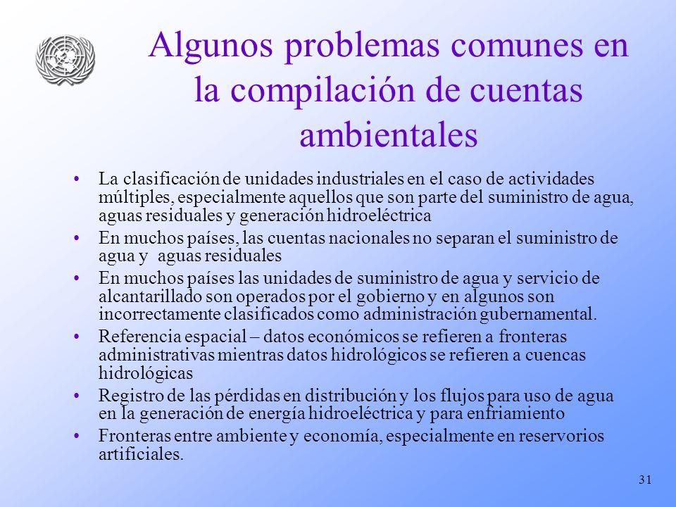 31 Algunos problemas comunes en la compilación de cuentas ambientales La clasificación de unidades industriales en el caso de actividades múltiples, e