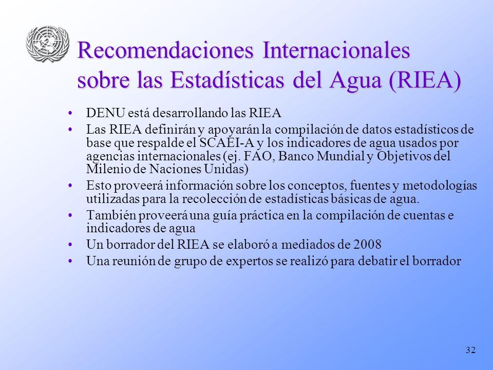 32 Recomendaciones Internacionales sobre las Estadísticas del Agua (RIEA) DENU está desarrollando las RIEA Las RIEA definirán y apoyarán la compilació