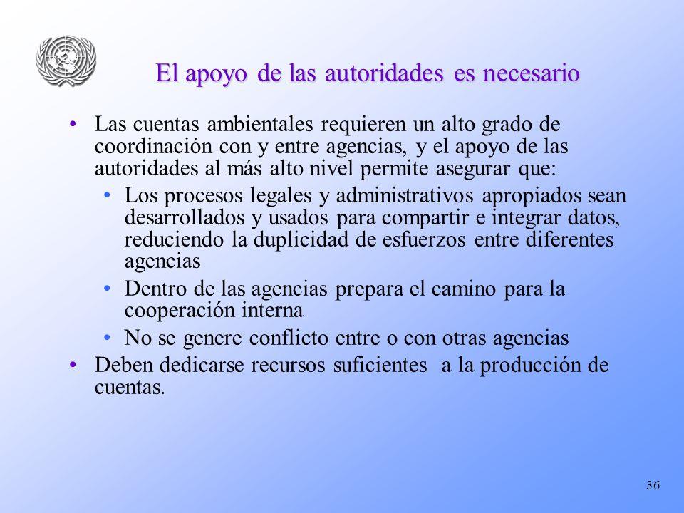 36 El apoyo de las autoridades es necesario Las cuentas ambientales requieren un alto grado de coordinación con y entre agencias, y el apoyo de las au