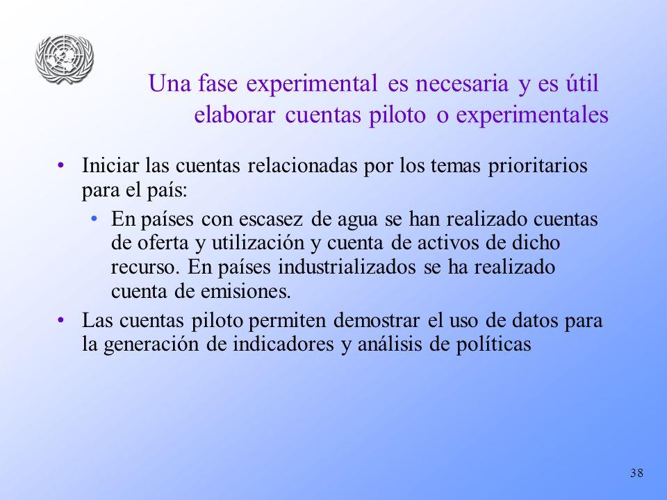 38 Una fase experimental es necesaria y es útil elaborar cuentas piloto o experimentales Iniciar las cuentas relacionadas por los temas prioritarios p