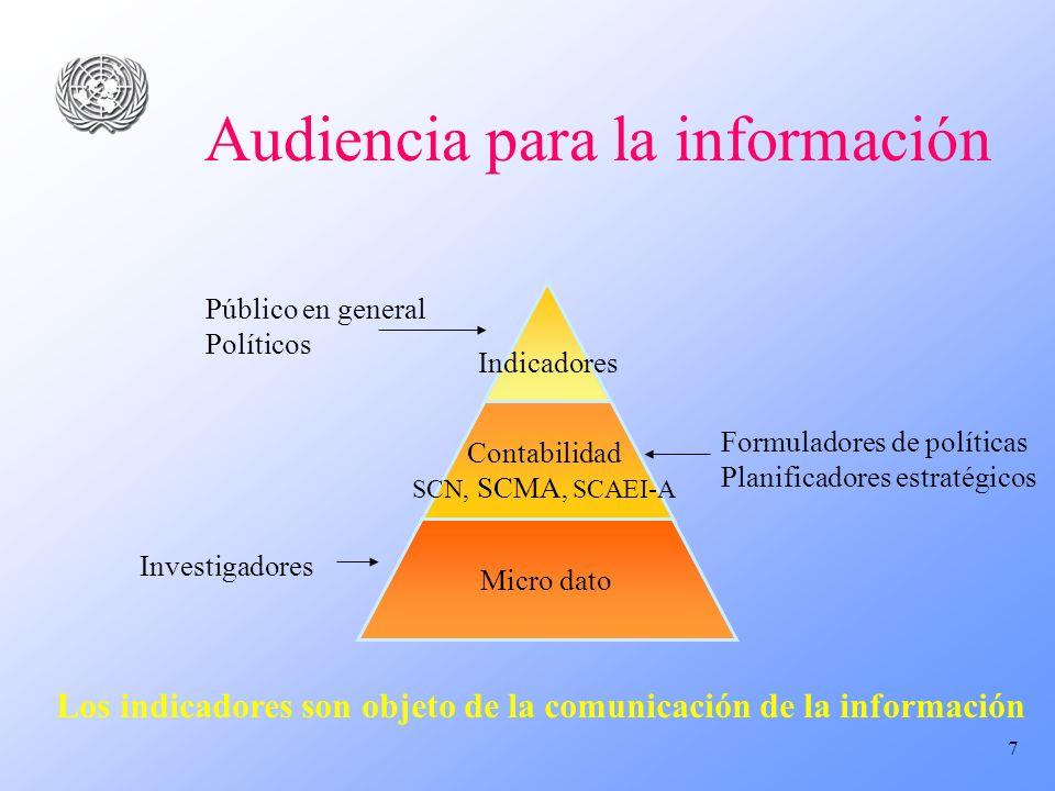 7 Audiencia para la información Indicadores Micro dato Contabilidad SCN, SCMA, SCAEI-A Público en general Políticos Formuladores de políticas Planific