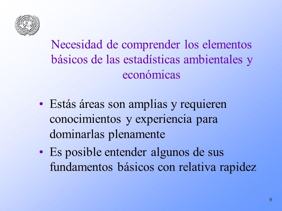 9 Necesidad de comprender los elementos básicos de las estadísticas ambientales y económicas Estás áreas son amplias y requieren conocimientos y exper