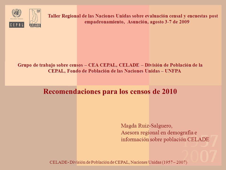 El proceso de preparación de los censos de la década de 2010 se ha visto reforzado por el apoyo coordinado de varios organismos internacionales, regionales y subregionales El Centro Latinoamericano y Caribeño de Demografía CELADE- División de Población de la Comisión Económica Para América Latina y el Caribe (CEPAL), el Fondo de Población de las Naciones Unidas (UNFPA) el Departamento de Asuntos Económicos y Sociales (DESA) de las Naciones Unidas.