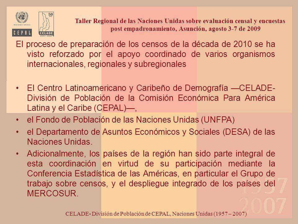 El proceso de preparación de los censos de la década de 2010 se ha visto reforzado por el apoyo coordinado de varios organismos internacionales, regio