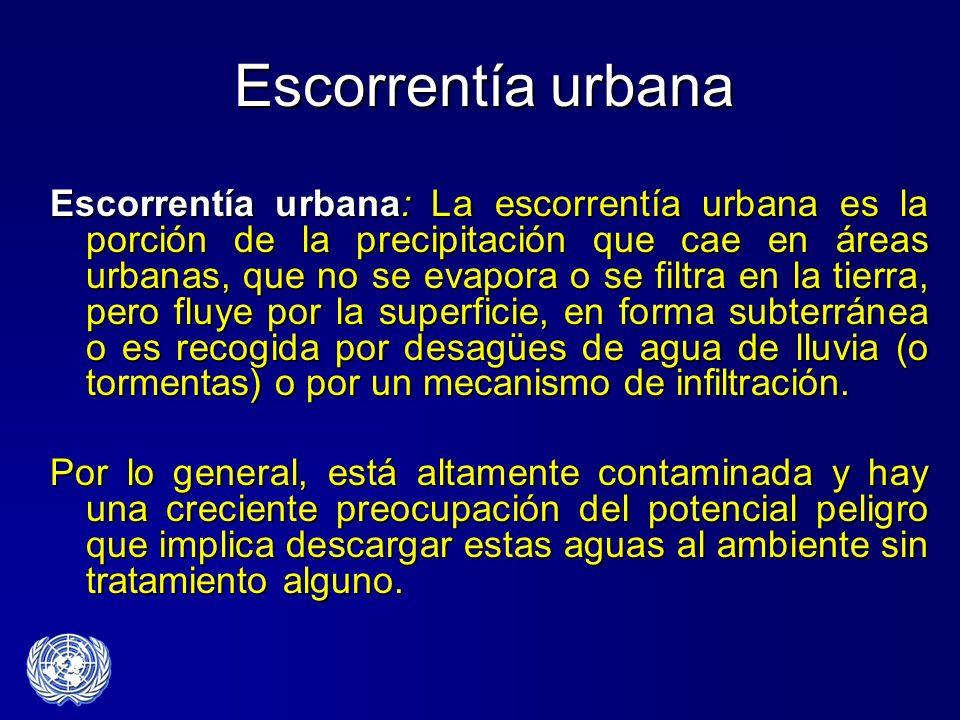 Escorrentía urbana Escorrentía urbana: La escorrentía urbana es la porción de la precipitación que cae en áreas urbanas, que no se evapora o se filtra
