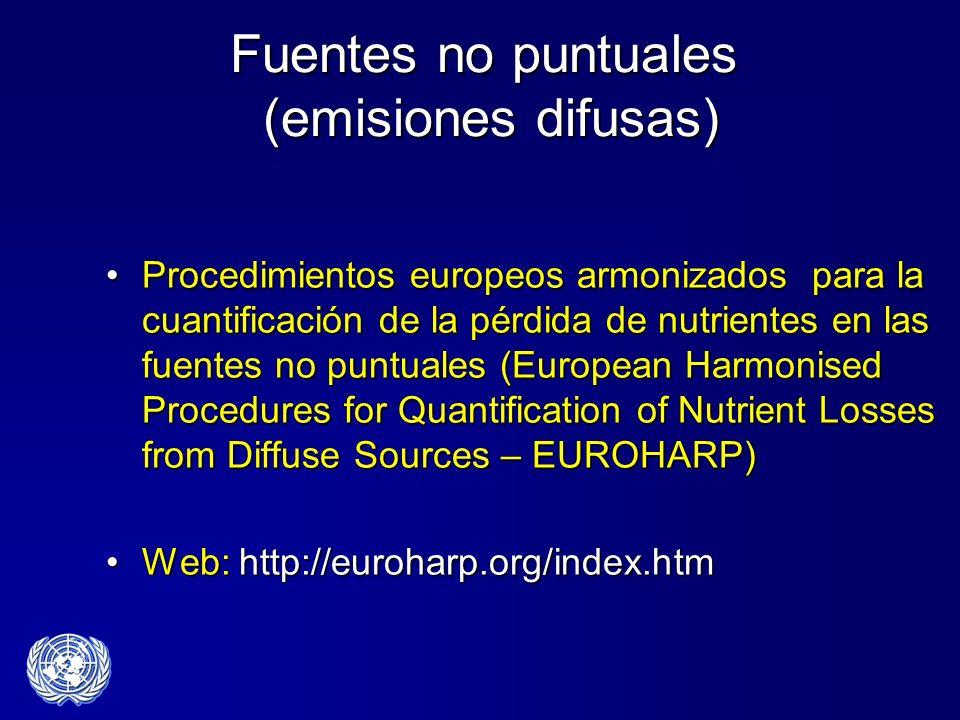 Fuentes no puntuales (emisiones difusas) Procedimientos europeos armonizados para la cuantificación de la pérdida de nutrientes en las fuentes no punt