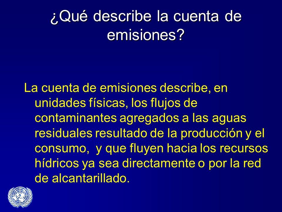 ¿Qué describe la cuenta de emisiones? La cuenta de emisiones describe, en unidades físicas, los flujos de contaminantes agregados a las aguas residual