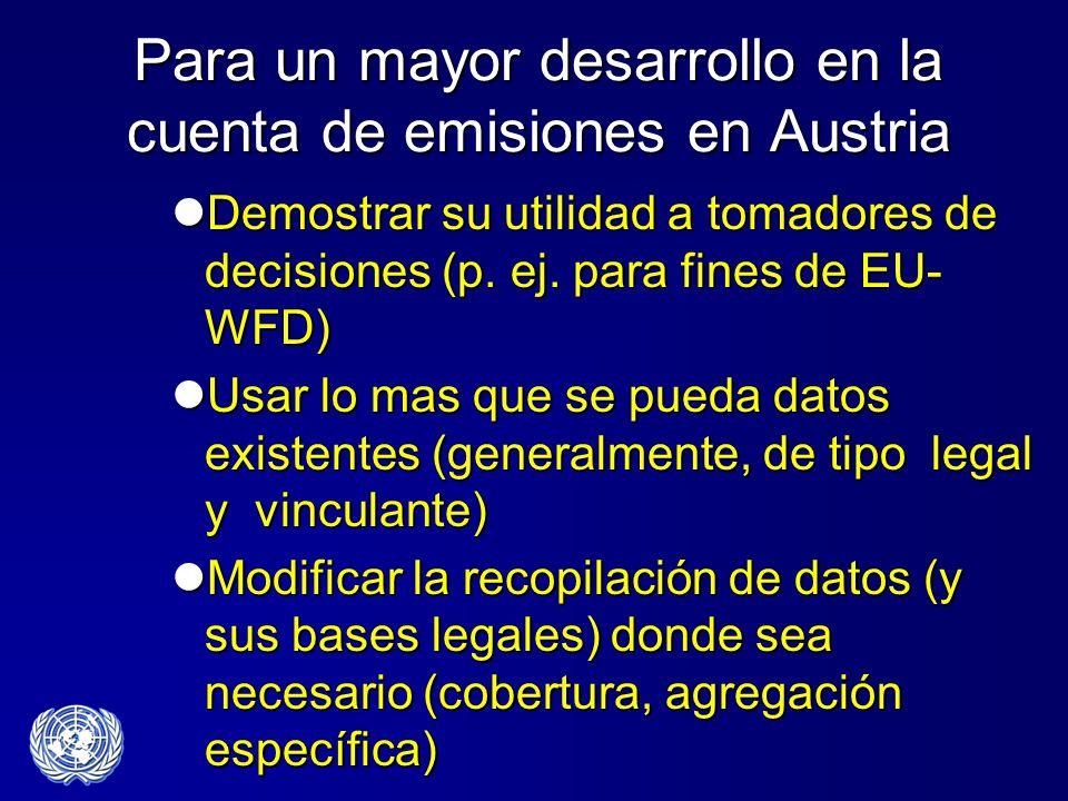 Para un mayor desarrollo en la cuenta de emisiones en Austria Demostrar su utilidad a tomadores de decisiones (p. ej. para fines de EU- WFD) Demostrar