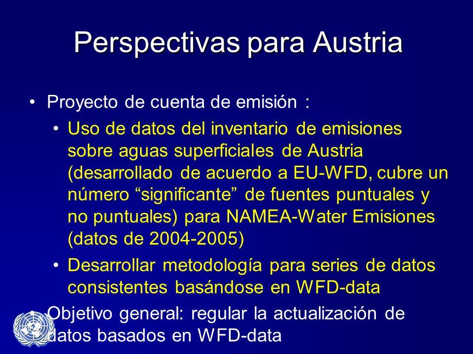 Perspectivas para Austria Proyecto de cuenta de emisión : Uso de datos del inventario de emisiones sobre aguas superficiales de Austria (desarrollado
