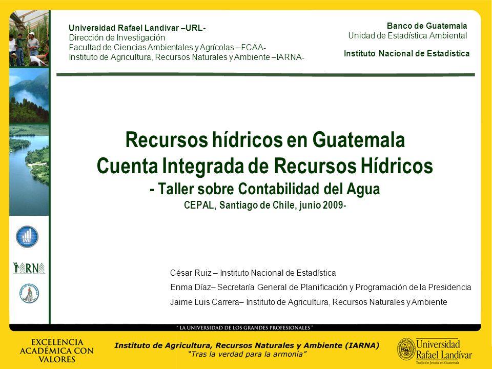 Universidad Rafael Landívar –URL- Dirección de Investigación Facultad de Ciencias Ambientales y Agrícolas –FCAA- Instituto de Agricultura, Recursos Na