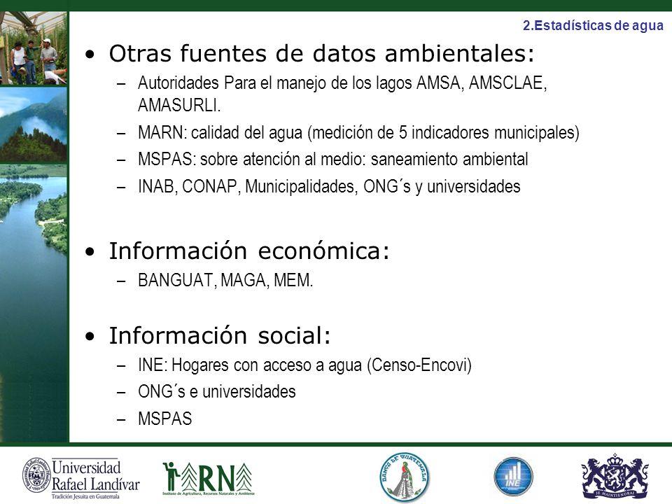 Otras fuentes de datos ambientales: –Autoridades Para el manejo de los lagos AMSA, AMSCLAE, AMASURLI. –MARN: calidad del agua (medición de 5 indicador