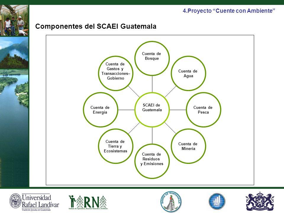 Cuenta de Gastos y Transacciones– Gobierno Cuenta de Energía Cuenta de Tierra y Ecosistemas Cuenta de Residuos y Emisiones Cuenta de Minería Cuenta de
