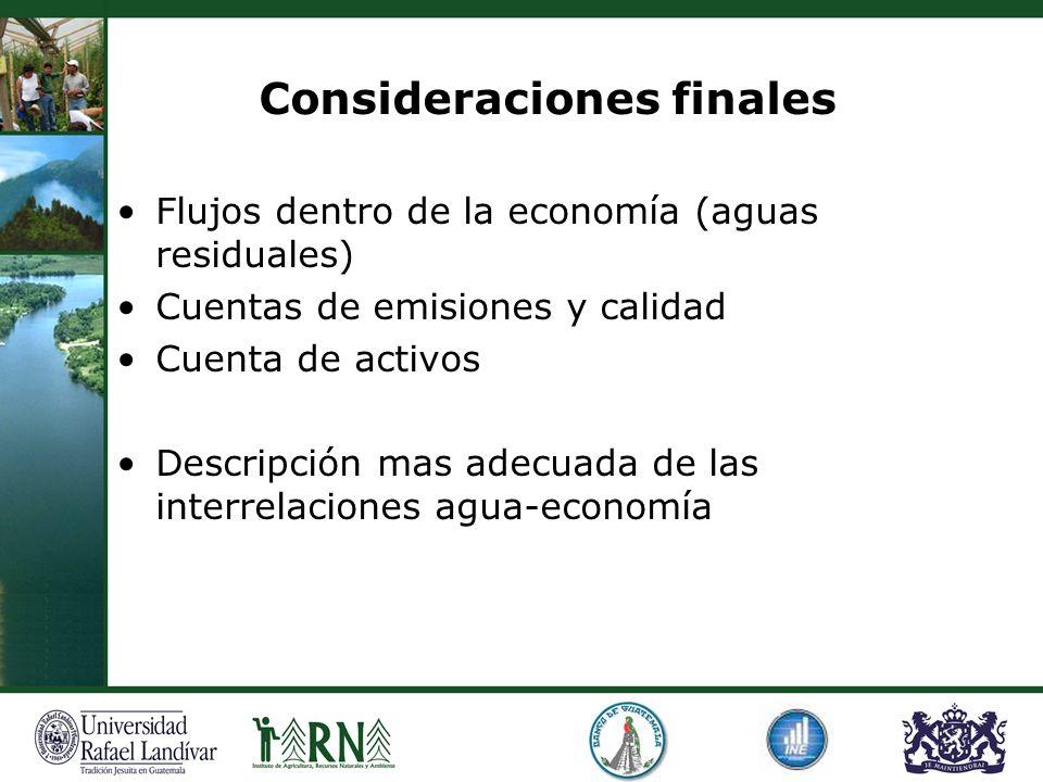 Consideraciones finales Flujos dentro de la economía (aguas residuales) Cuentas de emisiones y calidad Cuenta de activos Descripción mas adecuada de l