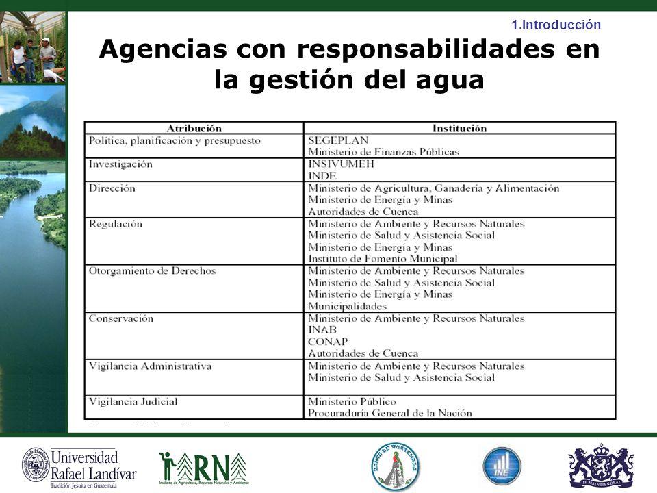 Agencias con responsabilidades en la gestión del agua 1.Introducción