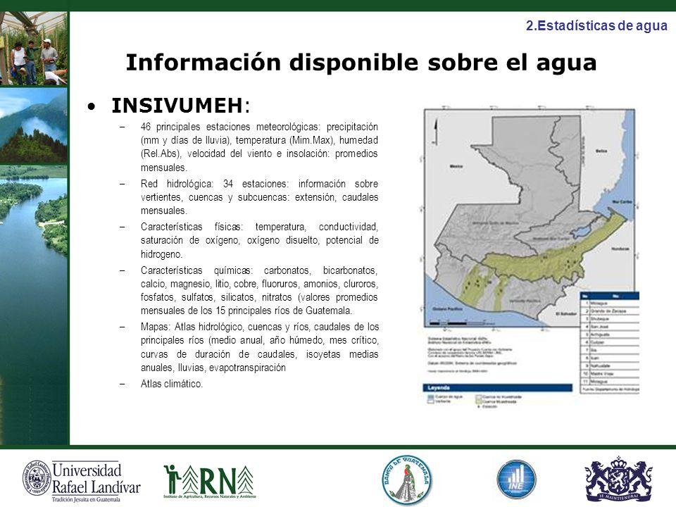 Información disponible sobre el agua INSIVUMEH: –46 principales estaciones meteorológicas: precipitación (mm y días de lluvia), temperatura (Mim.Max),