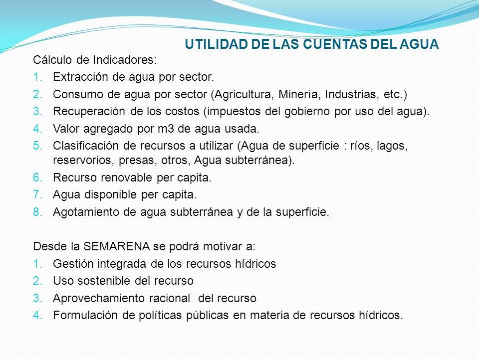 Cálculo de Indicadores: 1. Extracción de agua por sector. 2. Consumo de agua por sector (Agricultura, Minería, Industrias, etc.) 3. Recuperación de lo