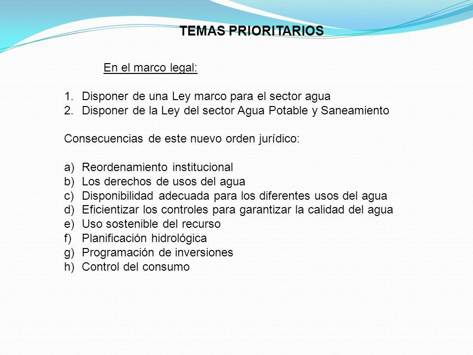 TEMAS PRIORITARIOS Oferentes En el marco legal: 1.Disponer de una Ley marco para el sector agua 2.Disponer de la Ley del sector Agua Potable y Saneami