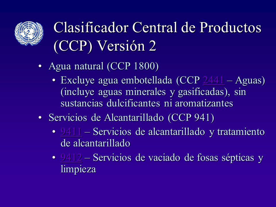 Clasificador Central de Productos (CCP) Versión 2 Agua natural (CCP 1800)Agua natural (CCP 1800) Excluye agua embotellada (CCP 2441 – Aguas) (incluye aguas minerales y gasificadas), sin sustancias dulcificantes ni aromatizantesExcluye agua embotellada (CCP 2441 – Aguas) (incluye aguas minerales y gasificadas), sin sustancias dulcificantes ni aromatizantes2441 Servicios de Alcantarillado (CCP 941)Servicios de Alcantarillado (CCP 941) 9411 – Servicios de alcantarillado y tratamiento de alcantarillado9411 – Servicios de alcantarillado y tratamiento de alcantarillado9411 9412 – Servicios de vaciado de fosas sépticas y limpieza9412 – Servicios de vaciado de fosas sépticas y limpieza9412