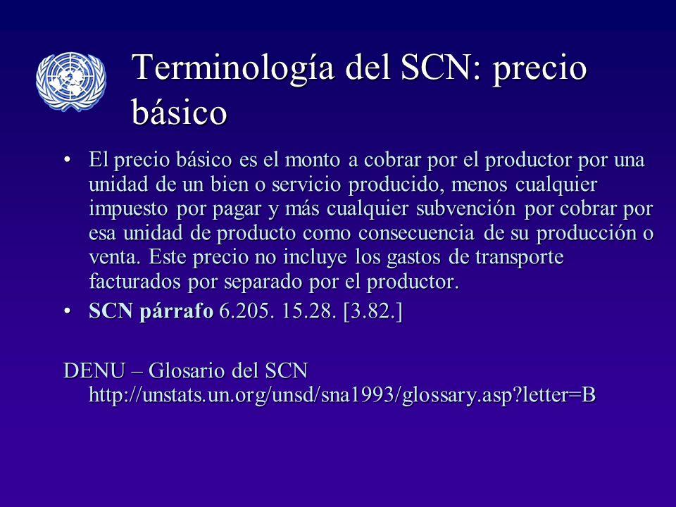 Terminología del SCN: precio básico El precio básico es el monto a cobrar por el productor por una unidad de un bien o servicio producido, menos cualquier impuesto por pagar y más cualquier subvención por cobrar por esa unidad de producto como consecuencia de su producción o venta.