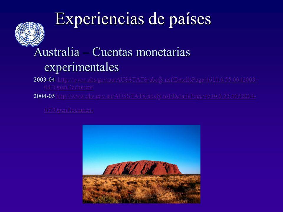 Experiencias de países Australia – Cuentas monetarias experimentales 2003-04 http://www.abs.gov.au/AUSSTATS/abs@.nsf/DetailsPage/4610.0.55.0042003- 04?OpenDocument http://www.abs.gov.au/AUSSTATS/abs@.nsf/DetailsPage/4610.0.55.0042003- 04?OpenDocumenthttp://www.abs.gov.au/AUSSTATS/abs@.nsf/DetailsPage/4610.0.55.0042003- 04?OpenDocument 2004-05 http://www.abs.gov.au/AUSSTATS/abs@.nsf/DetailsPage/4610.0.55.0052004- 05?OpenDocument http://www.abs.gov.au/AUSSTATS/abs@.nsf/DetailsPage/4610.0.55.0052004- 05?OpenDocumenthttp://www.abs.gov.au/AUSSTATS/abs@.nsf/DetailsPage/4610.0.55.0052004- 05?OpenDocument