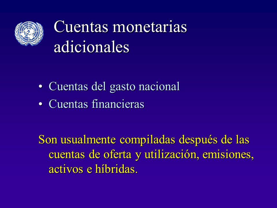 Cuentas monetarias adicionales Cuentas del gasto nacionalCuentas del gasto nacional Cuentas financierasCuentas financieras Son usualmente compiladas después de las cuentas de oferta y utilización, emisiones, activos e híbridas.