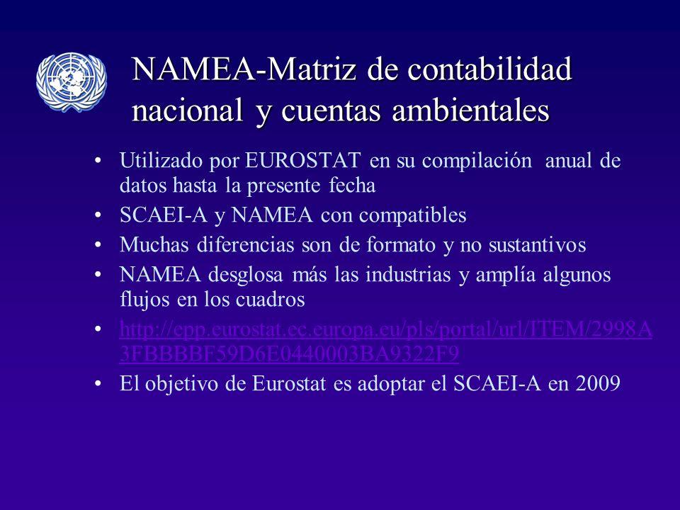 NAMEA-Matriz de contabilidad nacional y cuentas ambientales Utilizado por EUROSTAT en su compilación anual de datos hasta la presente fecha SCAEI-A y NAMEA con compatibles Muchas diferencias son de formato y no sustantivos NAMEA desglosa más las industrias y amplía algunos flujos en los cuadros http://epp.eurostat.ec.europa.eu/pls/portal/url/ITEM/2998A 3FBBBBF59D6E0440003BA9322F9http://epp.eurostat.ec.europa.eu/pls/portal/url/ITEM/2998A 3FBBBBF59D6E0440003BA9322F9 El objetivo de Eurostat es adoptar el SCAEI-A en 2009