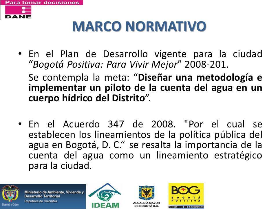 MARCO NORMATIVO En el Plan de Desarrollo vigente para la ciudadBogotá Positiva: Para Vivir Mejor 2008-201. Se contempla la meta: Diseñar una metodolog