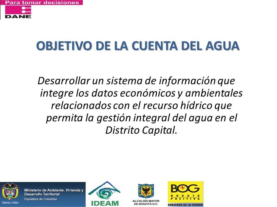 OBJETIVO DE LA CUENTA DEL AGUA Desarrollar un sistema de información que integre los datos económicos y ambientales relacionados con el recurso hídric