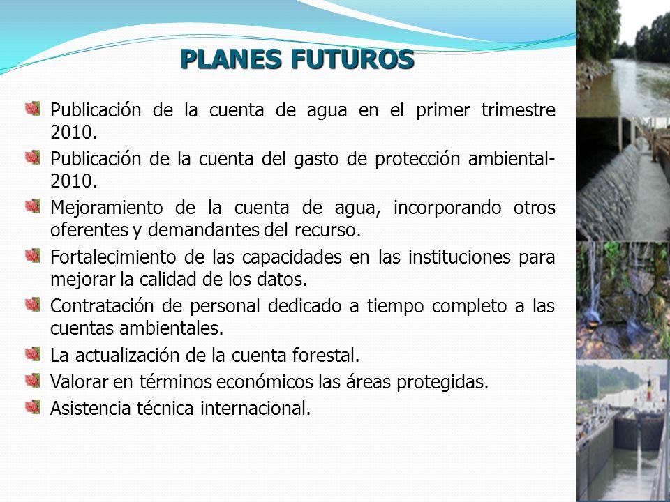 PLANES FUTUROS Publicación de la cuenta de agua en el primer trimestre 2010.