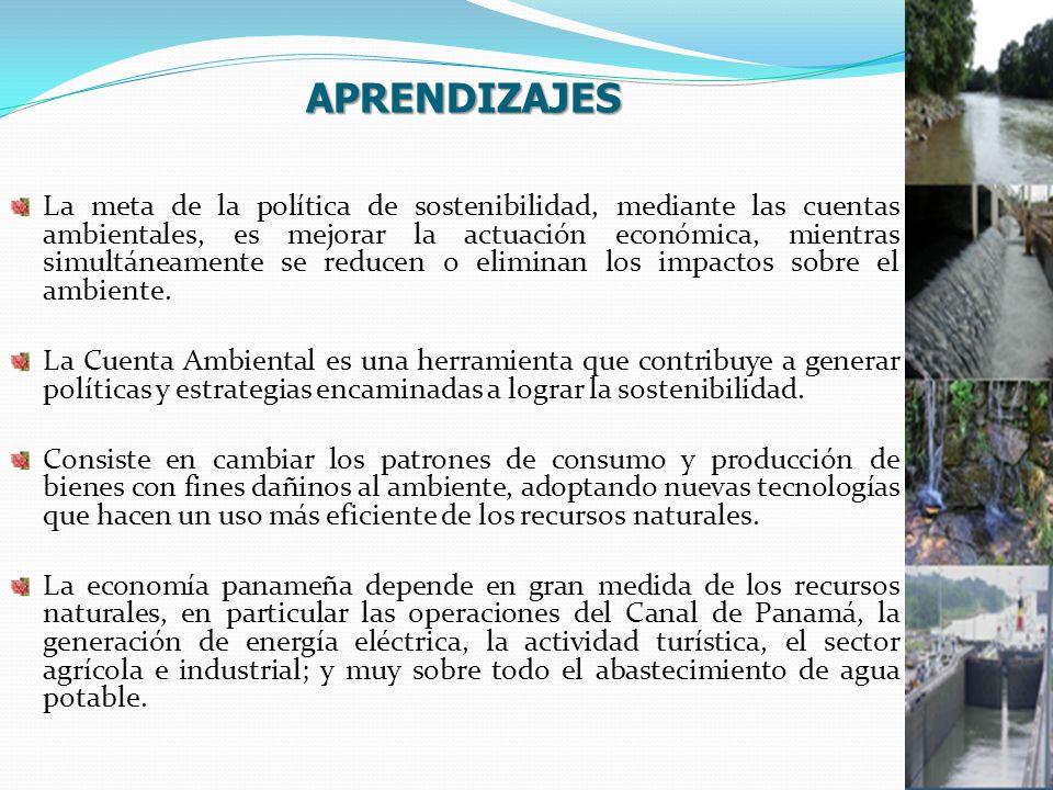 APRENDIZAJES La meta de la política de sostenibilidad, mediante las cuentas ambientales, es mejorar la actuación económica, mientras simultáneamente se reducen o eliminan los impactos sobre el ambiente.