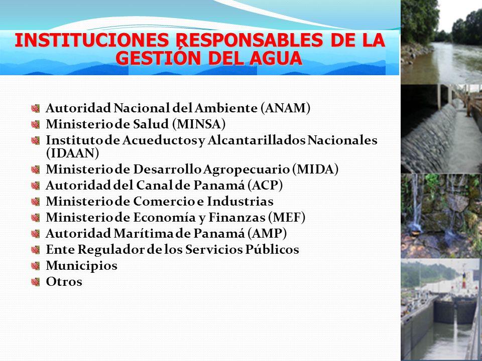 Autoridad Nacional del Ambiente (ANAM) Ministerio de Salud (MINSA) Instituto de Acueductos y Alcantarillados Nacionales (IDAAN) Ministerio de Desarrollo Agropecuario (MIDA) Autoridad del Canal de Panamá (ACP) Ministerio de Comercio e Industrias Ministerio de Economía y Finanzas (MEF) Autoridad Marítima de Panamá (AMP) Ente Regulador de los Servicios Públicos Municipios Otros INSTITUCIONES RESPONSABLES DE LA GESTIÓN DEL AGUA