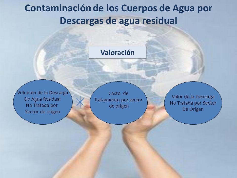 Contaminación de los Cuerpos de Agua por Descargas de agua residual Valor de la Descarga No Tratada por Sector De Origen Volumen de la Descarga De Agu